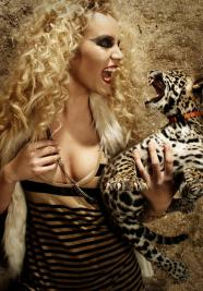 women with a wild cat