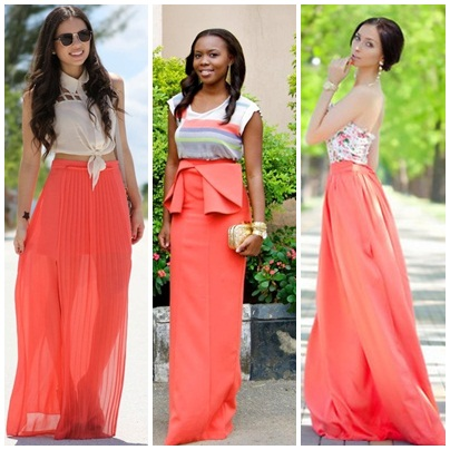Coral Long Skirts