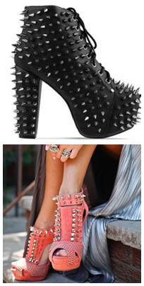 studded and spikes shoes