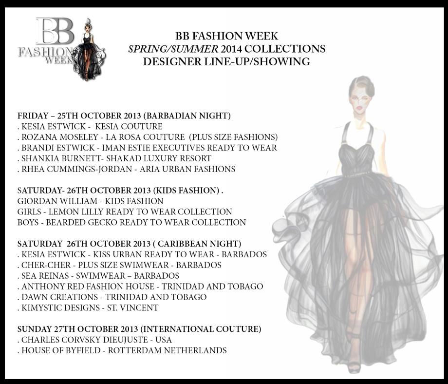 BBFW 2013 Designer Line Up